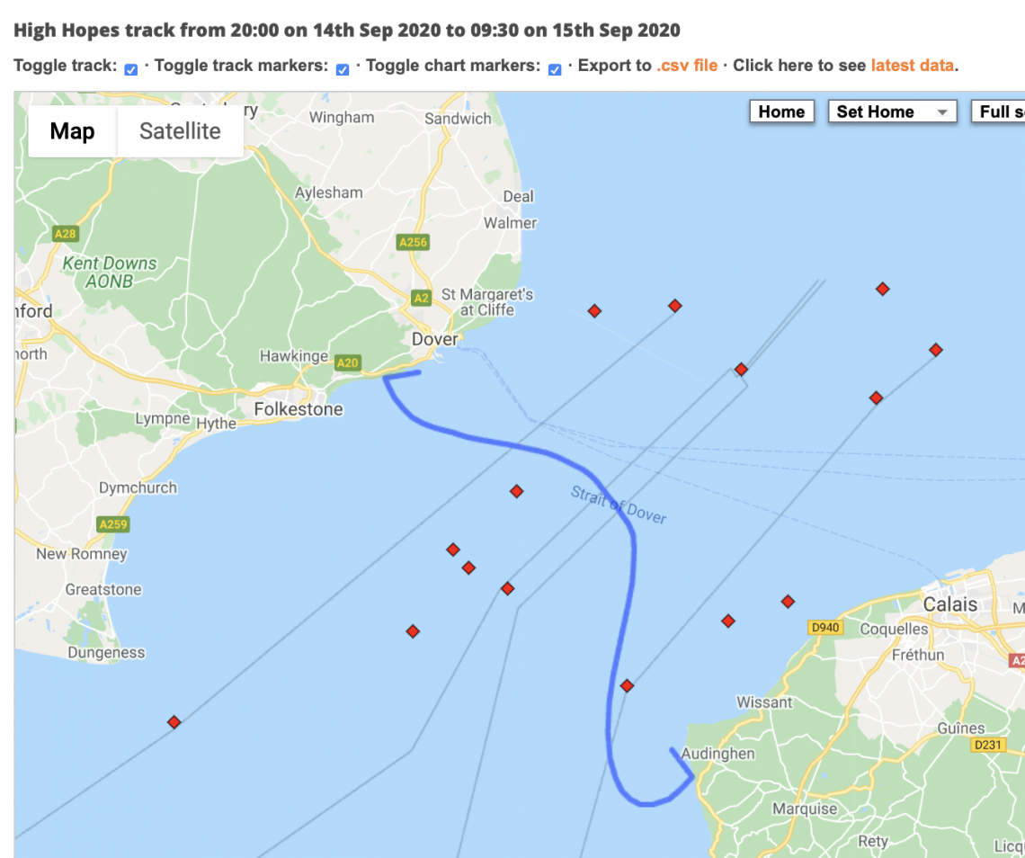 Swim route across English Channel taken by Felicity Challinor and her two relay swim mates