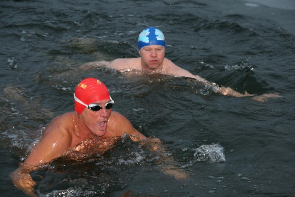 2010 Eric and Brian have a very quick dip