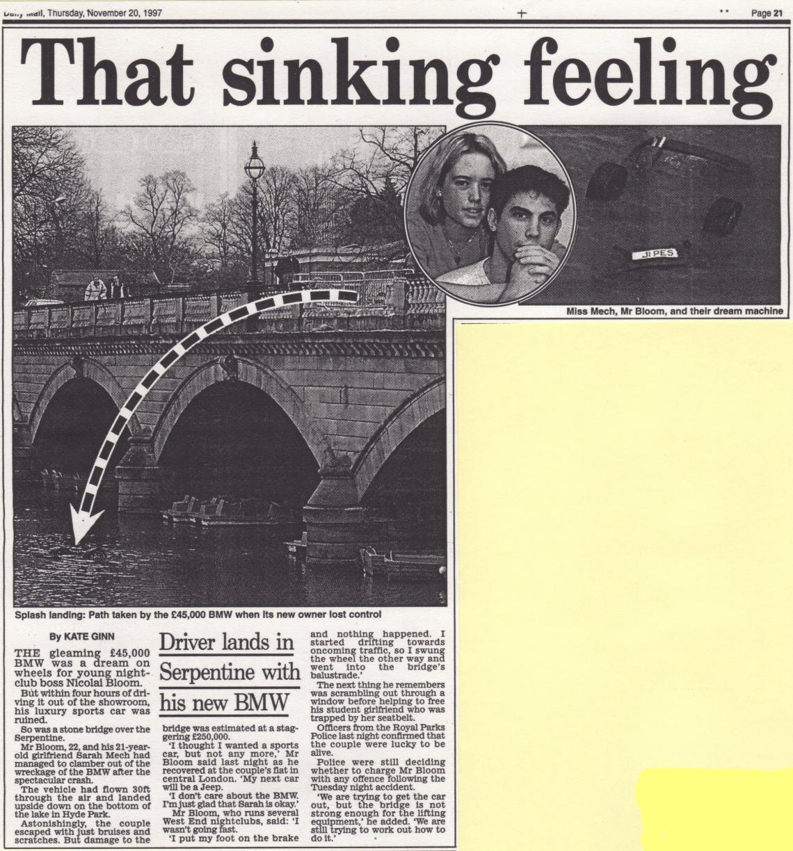And finally, not race related but Rennies Bridge was the scene of this drama in 1997