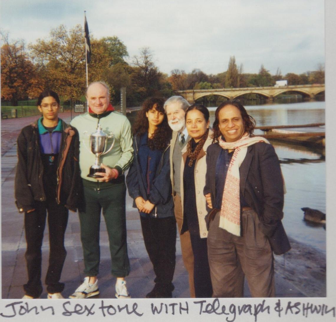 Ashwin and family with 1994 series winner, John Sextone