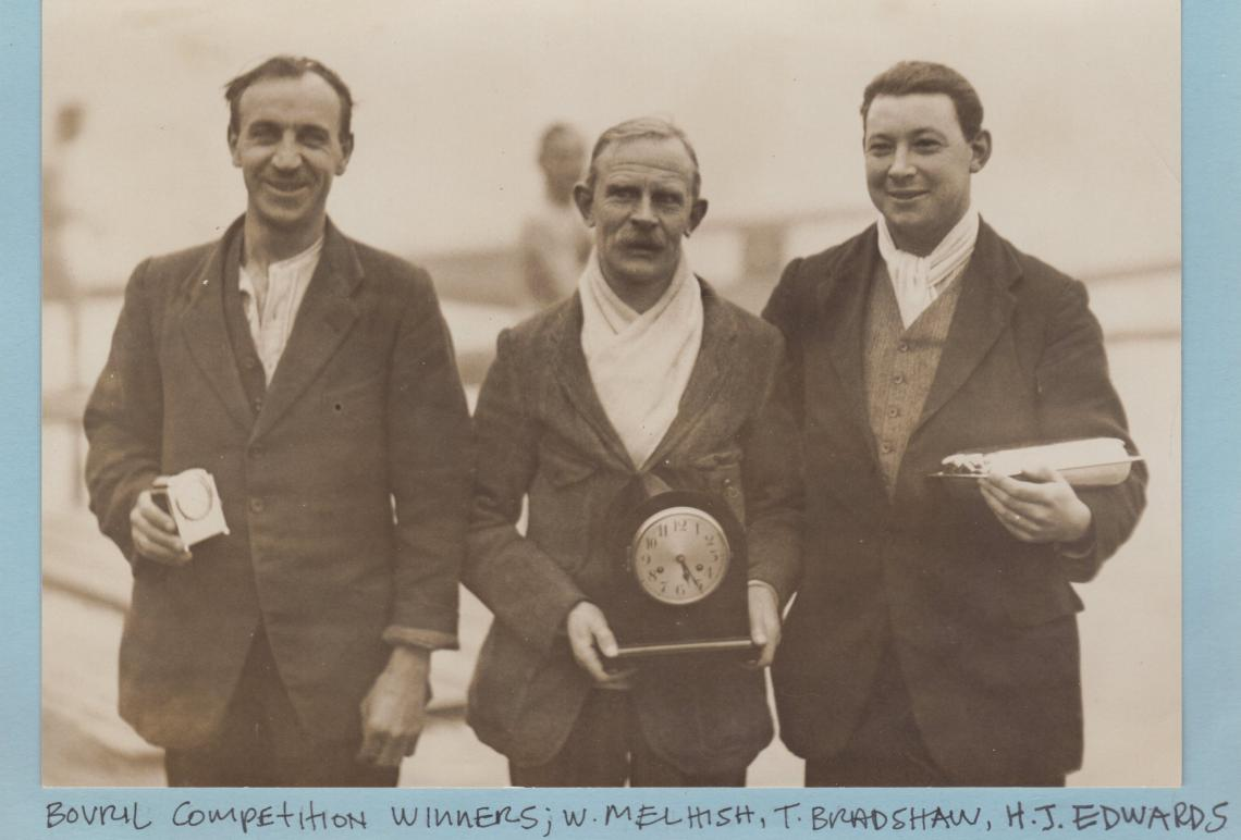 Tommy Bradshaw (middle).  Winner of the 1926 Winter competition, sponsored by Bovril.