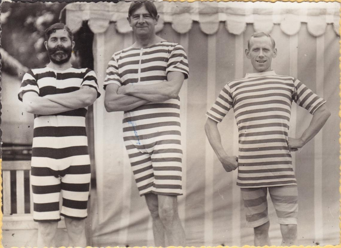 Dave Milne, centre, with Frank Simms and Norman Duckett.  Ready for the 1964 Centenary costume race