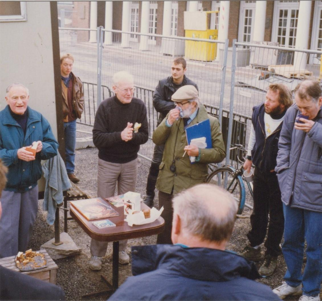 1996 presentation by Ron Maggs, next to the portacabin we used as a changing room during the Lido refurbishment.