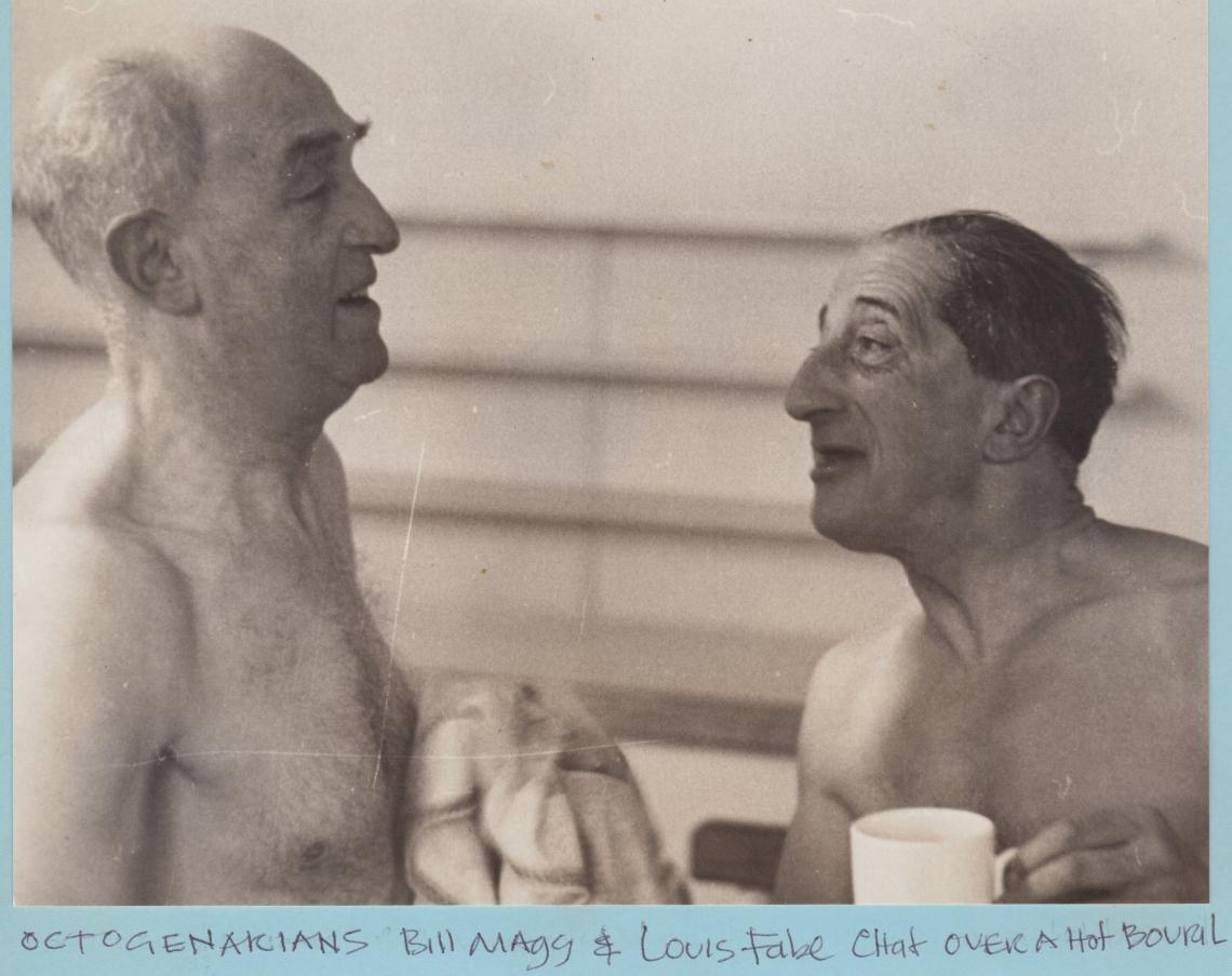Bill Maggs carried on swimming into his 80s.  Seen here with fellow octogenarian Louis Fabre, circa 1965.