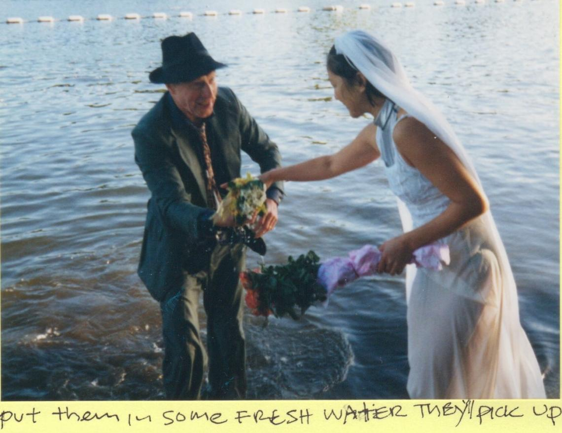 2001, same hat, different decade, new century.  That year Yoko Reid celebrated her recent wedding with an appropriate outfit for the race.