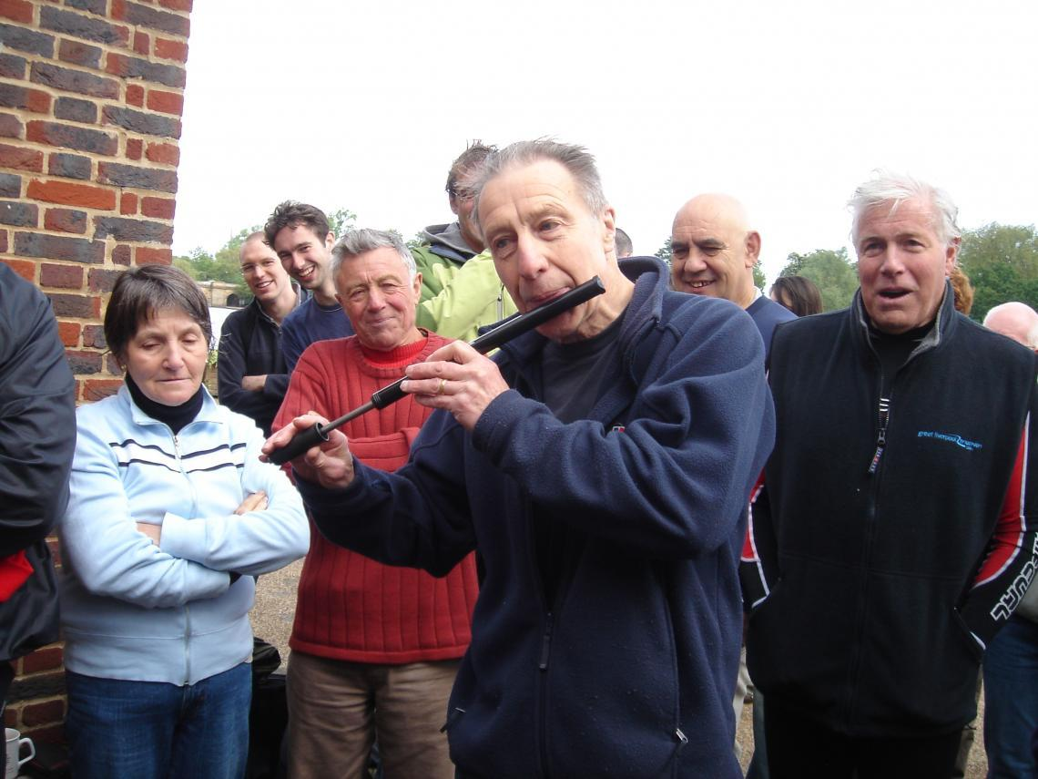 2006, Bill playing the bicycle pump at the post race presentation