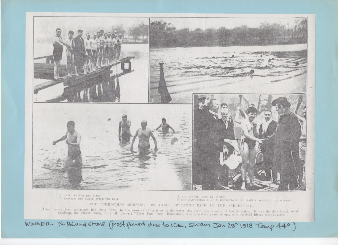 The 1917 race was postponed due to ice and swum in January