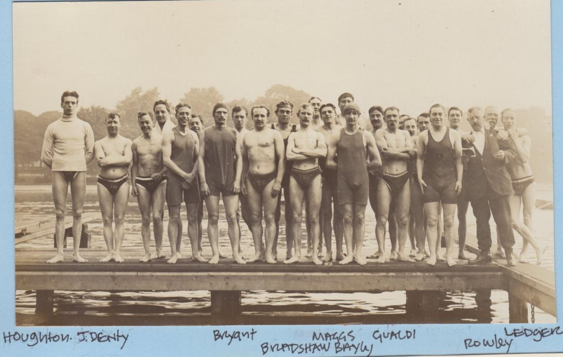 This photo from summer 1914 shows Tommy Bradshaw in the front centre, arms folded