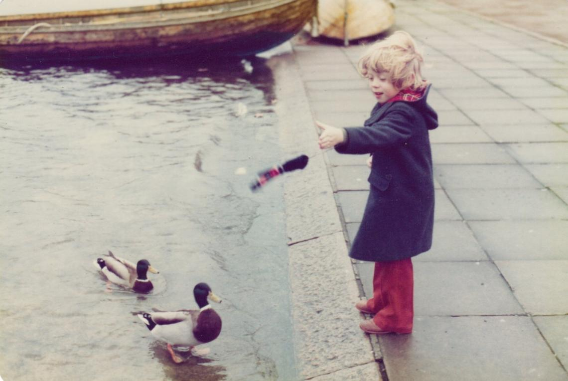 1980, Andy feeding the Serpentine ducks on Christmas morning