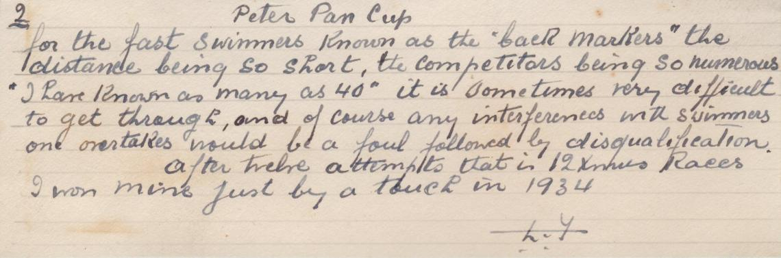 Louis produced a report on the 1934 race in his own fair hand
