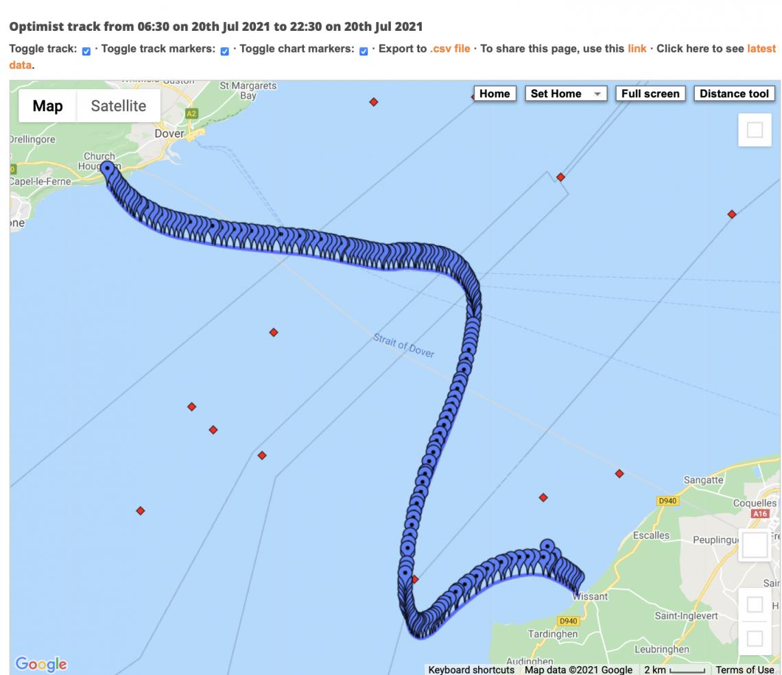 Swim route to France taken by Stu Bowman