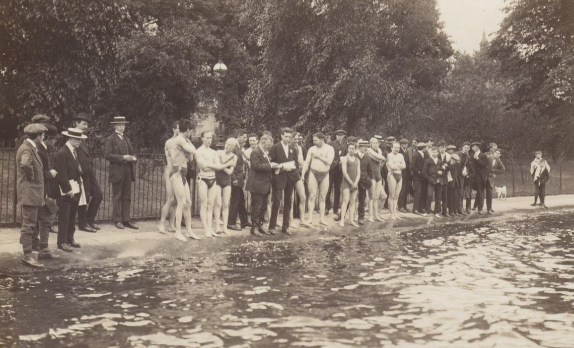 Races the length of the lake pre-date the club's 1864 foundation.  Seen here are Alfred Rowley and Fred Houghton getting the competitors started for the 1914 race, when the club was a mere 50 years young.