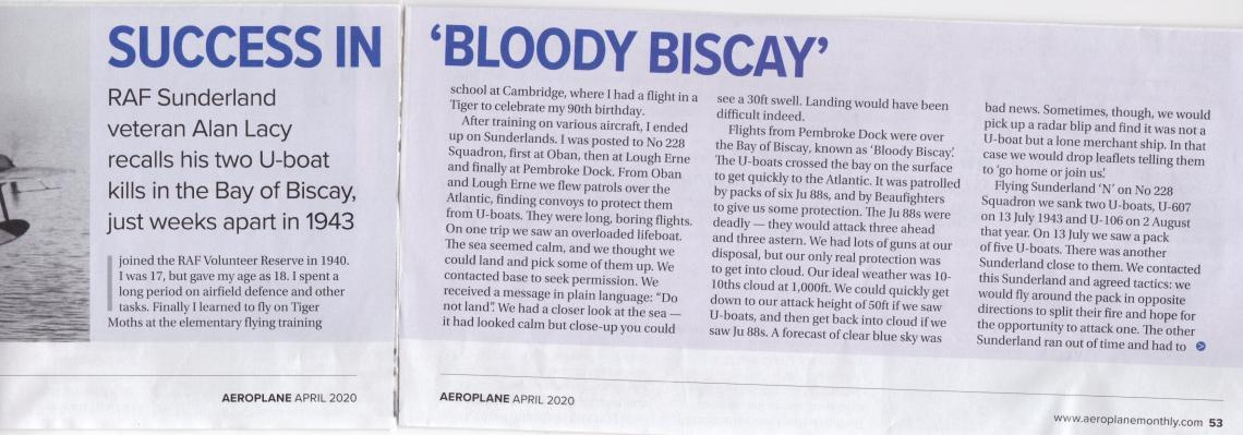 Lastly, in April 2020 Aeroplane Monthly magazine printed this fascinating interview with Alan concerning his service with RAF Coastal Command.  An act of humanity in the depths of conflict.