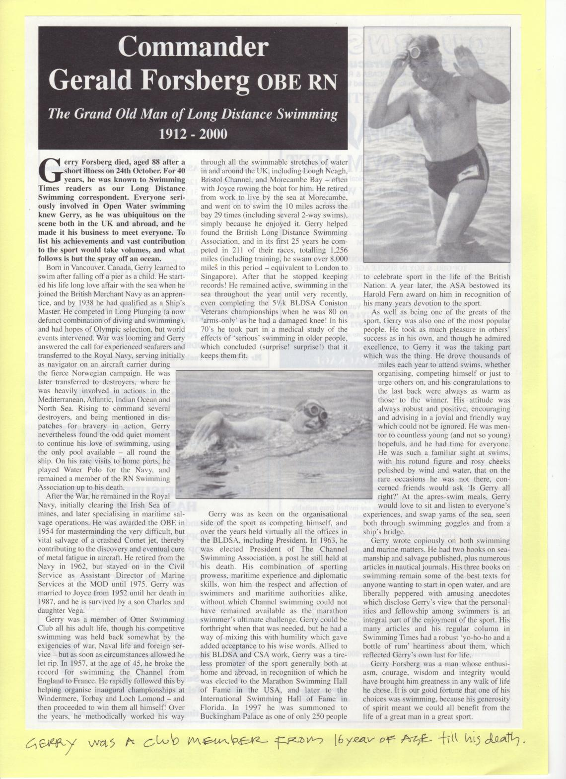 Gerald Forsberg's obituary in the Swimming Times