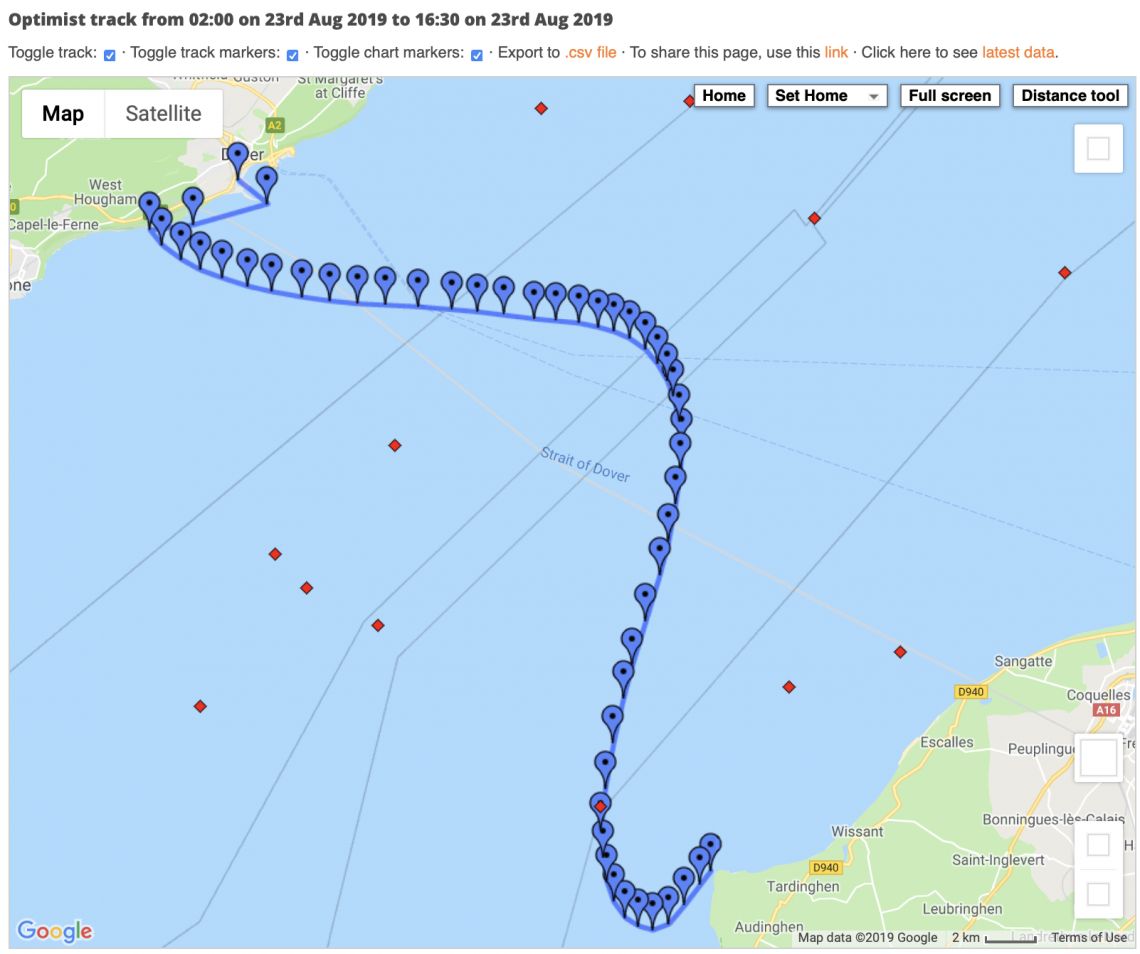 Swim route to France