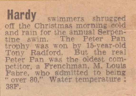 Tony won the first of his two Peter Pan cups in 1967.  No photos, but we do have a press clipping.