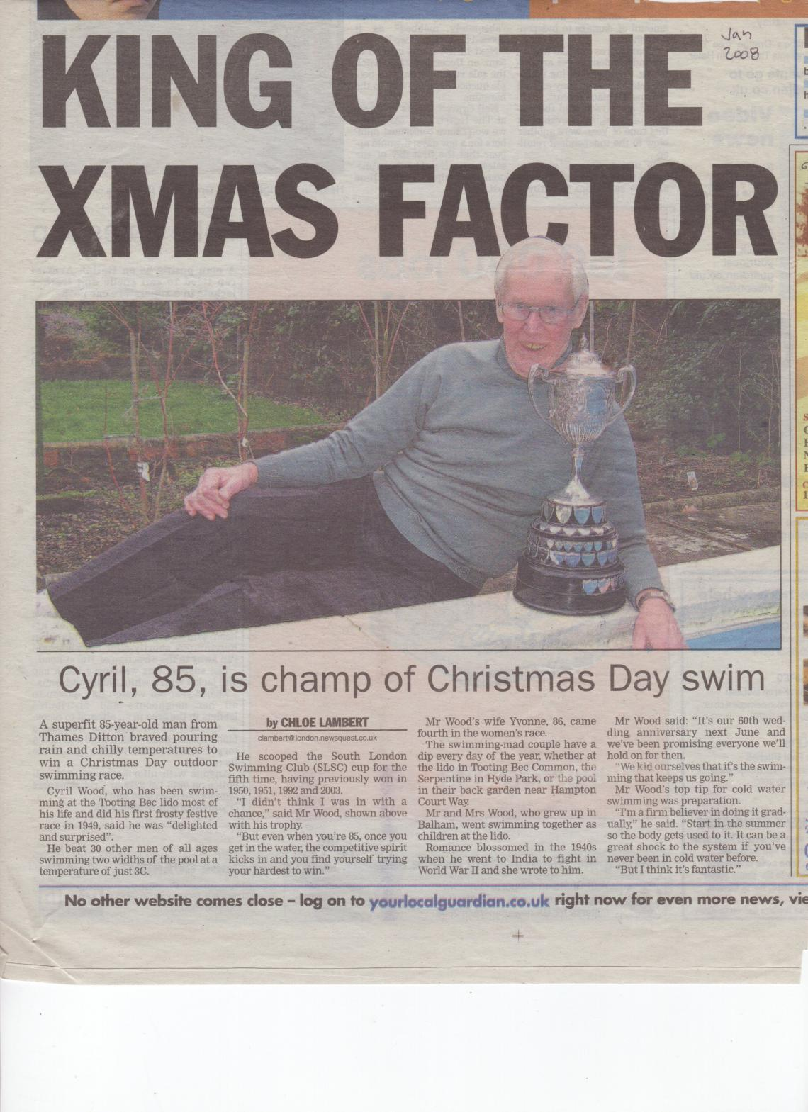 Cyril again made it into the local press in 2008, with Christmas victory at Tooting Bec