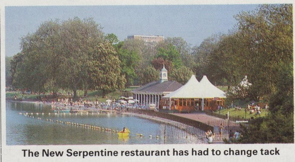 The eagle eyed amongst you will have spotted the temporary structure of  Prue Leith's short lived Serpentine Restaurant in the background of the 1990 photograph of Gladys with Bill Phipps