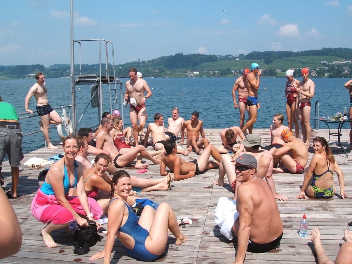 Serpentine Lake Zurich relay teams relaxing after the event