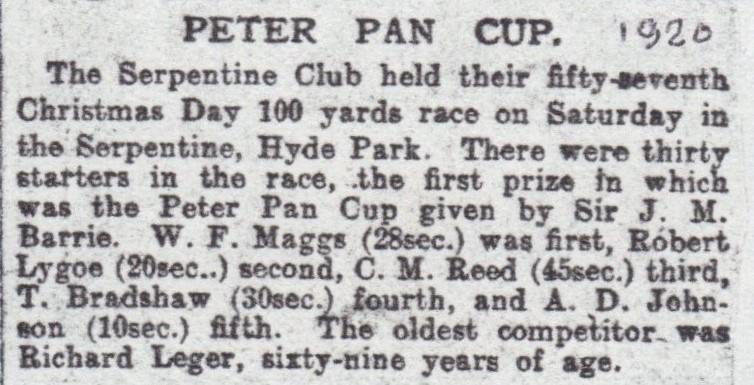 Peter Pan cup race report.  Sadly no photographs.