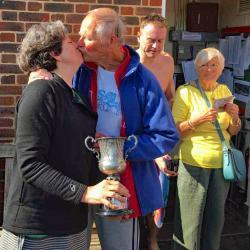 Shelley-Anne was so pleased with her trophy she almost swept Gordon off his feet