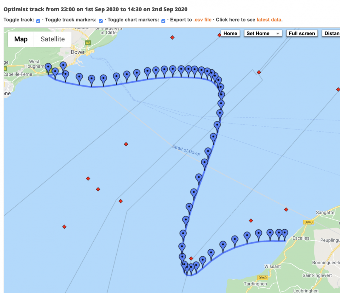 Jon Southey 2020 Route Map solo swim to France