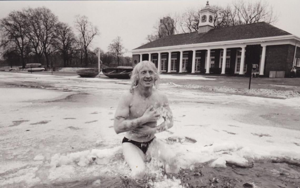 21 January 1985 -  more ice.  A photographer from The Times was on hand to capture Mario having a dip.