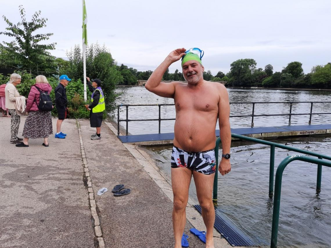 Rob Fisher swam a further 200m and had to be cajoled out of the water with the promise of silverware