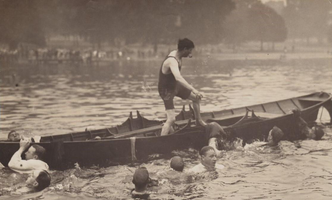 1921 All Clothes Race (including undressing in the water).  By then an event already into its seventh decade