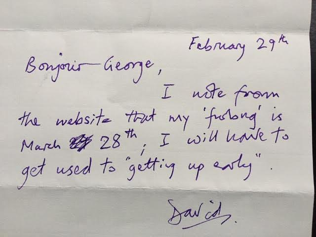 On 29 February 2020 Dave sent this charming note to Secretary George Cselko