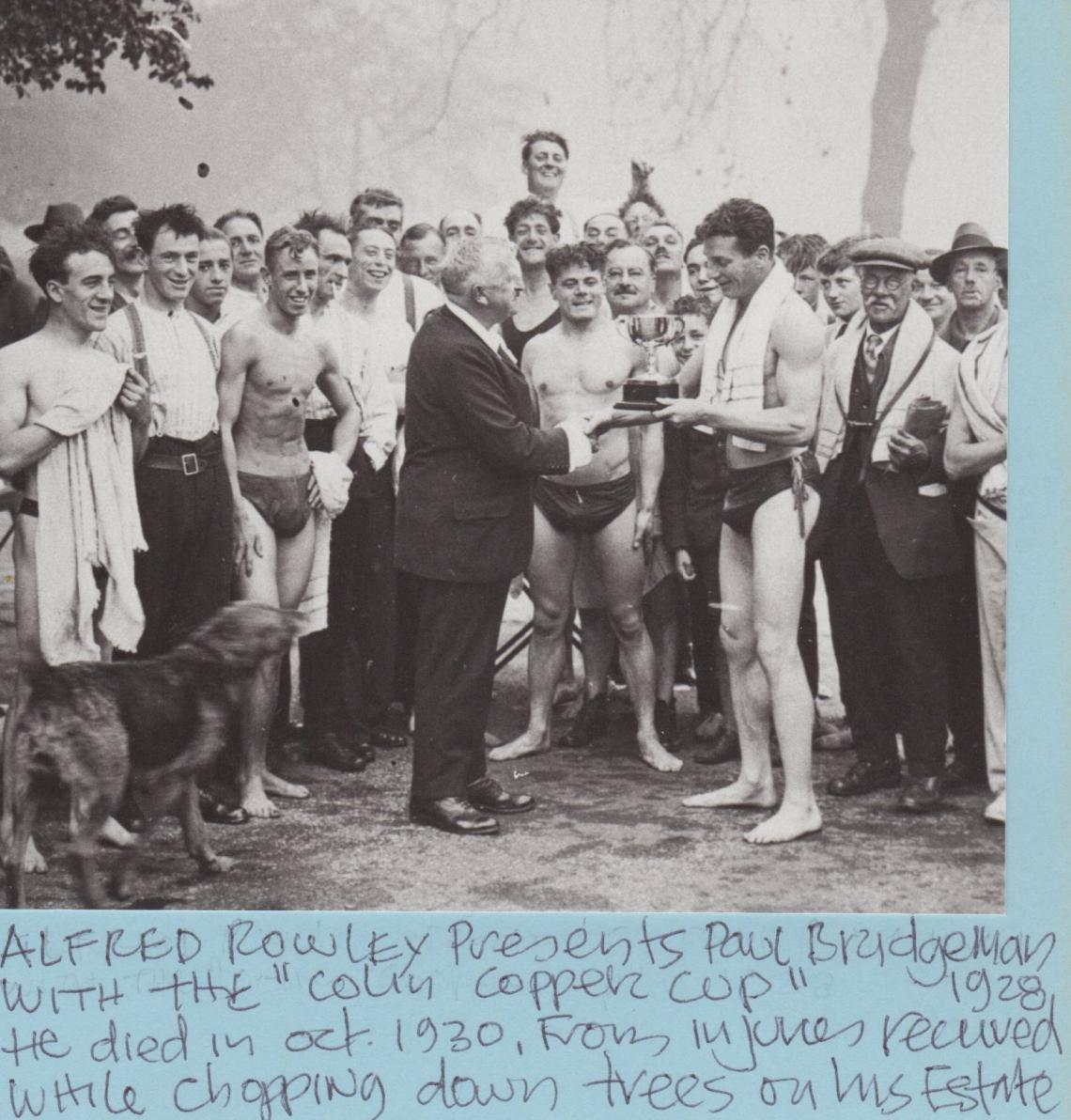 The 880 yard race replaced the scheduled Bridgeman team race.  This relay race was first swum in 1931 in memory of Paul Bridgeman, who died in a tragic accident in 1930.  Paul's wife and children continued to support the race through nine decades.