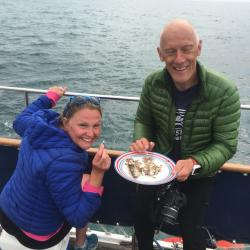 Jo Dale and Mark Richards snack on some mackerel
