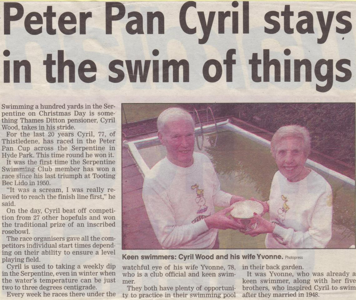 Cyril's 2000 Christmas victory made the local papers