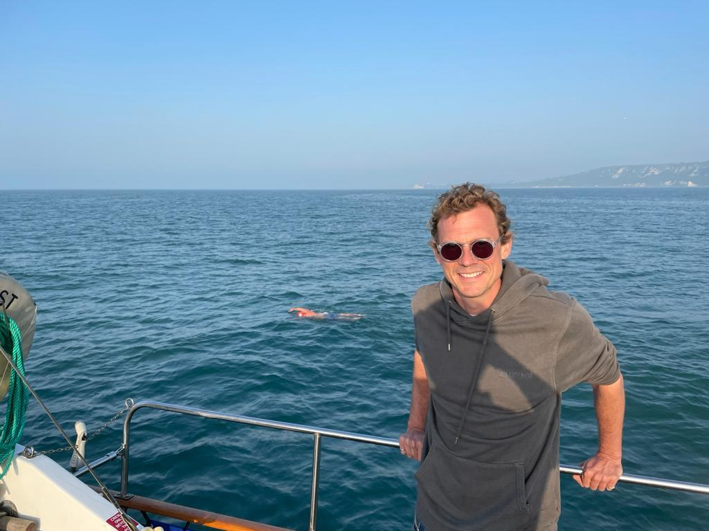 Sami Robertson fellow Serps and English Channel solo swimmer as part of support crew