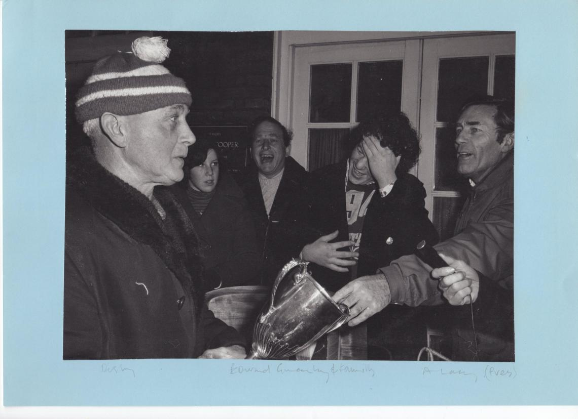 Christmas 1974, President Alan with cup winner Dusty Rhodes.