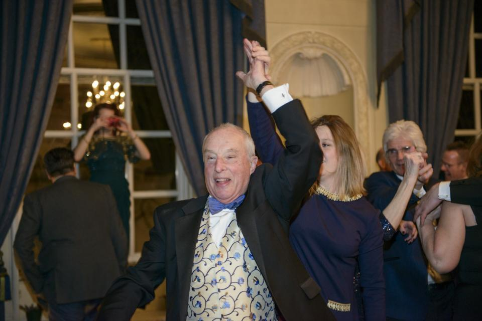 Party animal Robin strutting his stuff at the club's 150th anniversary dinner, 2014