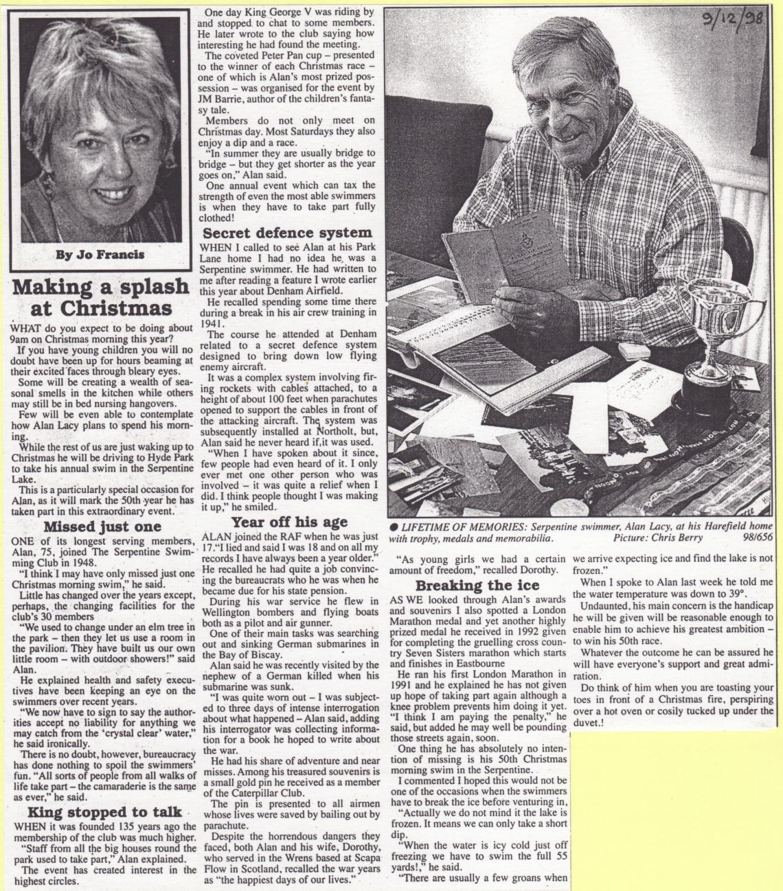 Alan was interviewed by the local press in 1998.  Some interesting stuff.