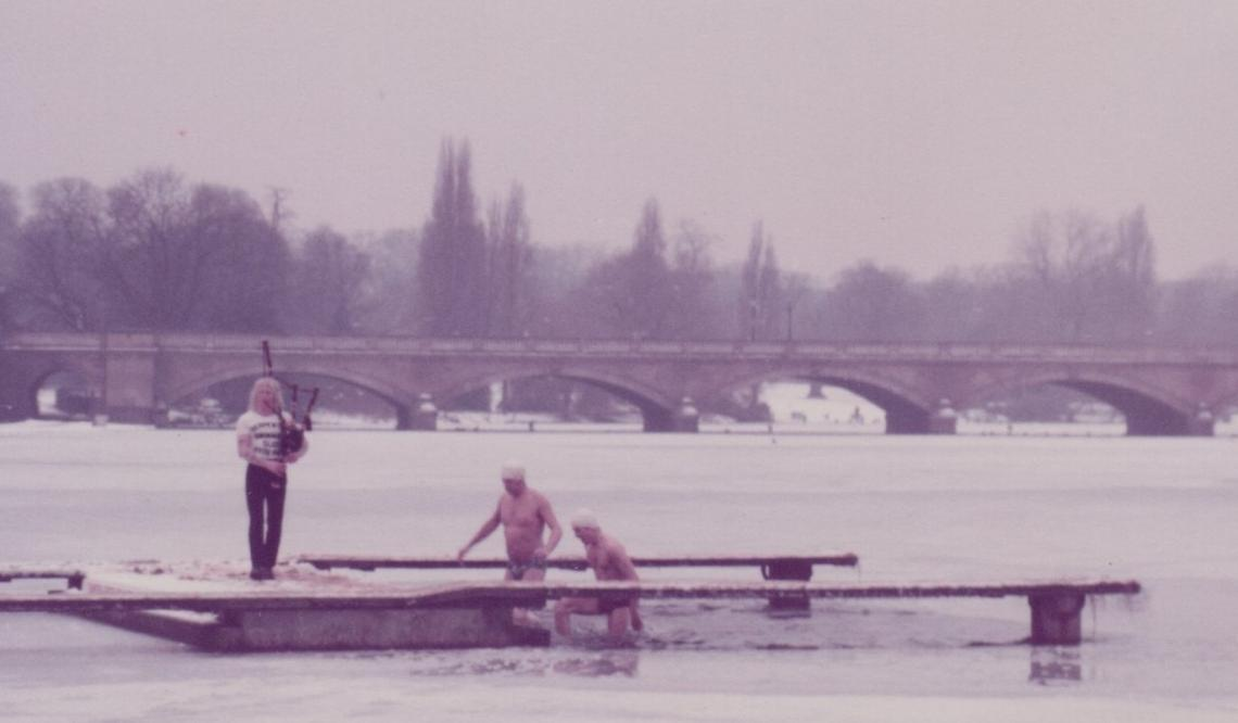 1981 -  as with 1963 ice meant the Christmas race was postponed.  Mario's piping ensured no one felt alone whilst having a quick dip in the hole in the ice.