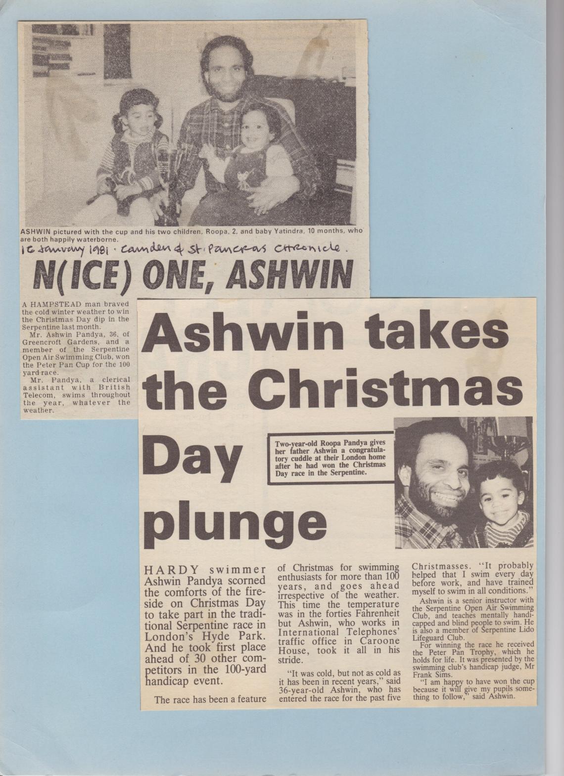 Proud Dad Ashwin won the Christmas Day race in 1980