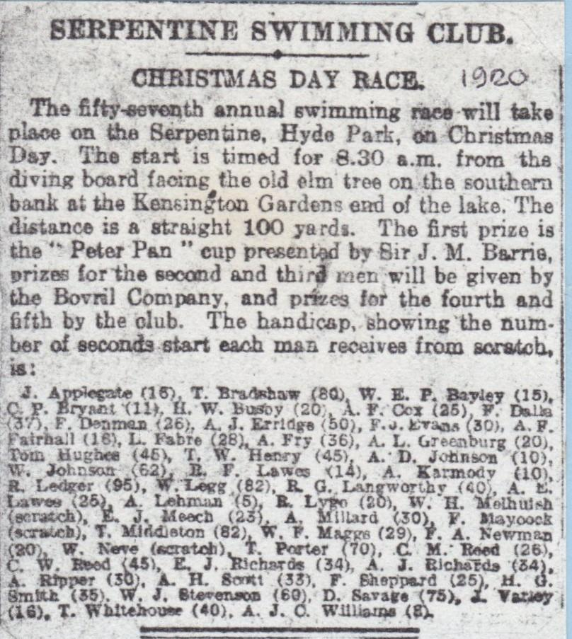 1920 Christmas handicap list published in the press