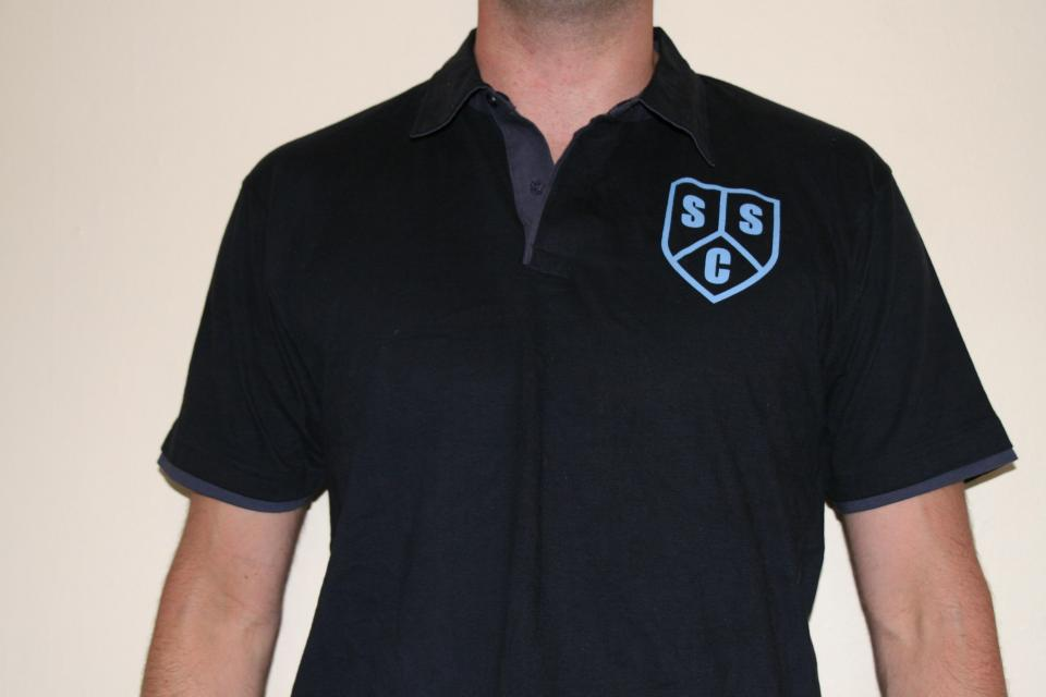 Front of Unisex Navy Polo