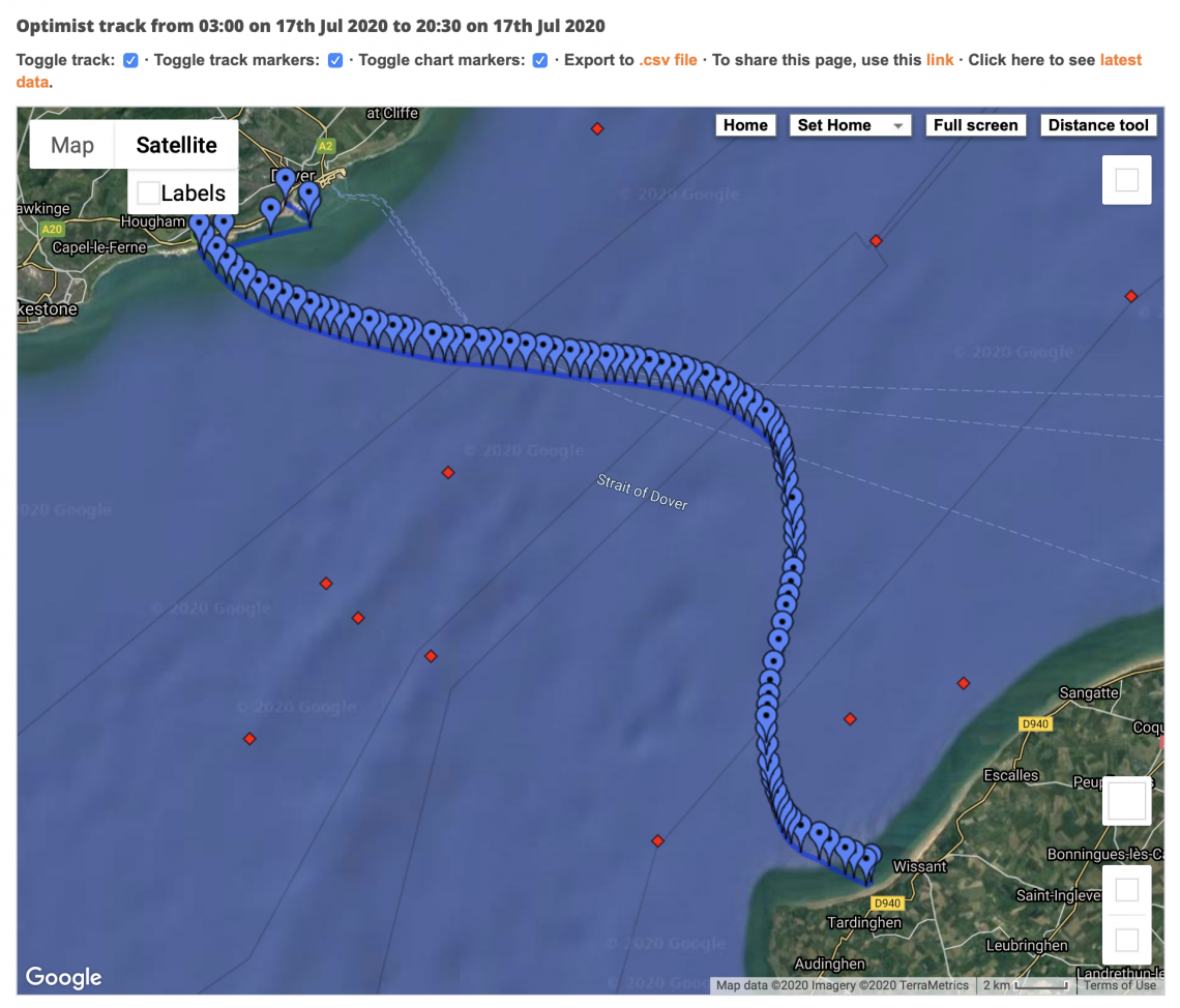 Paul Foreman's Optimist track across the English Channel