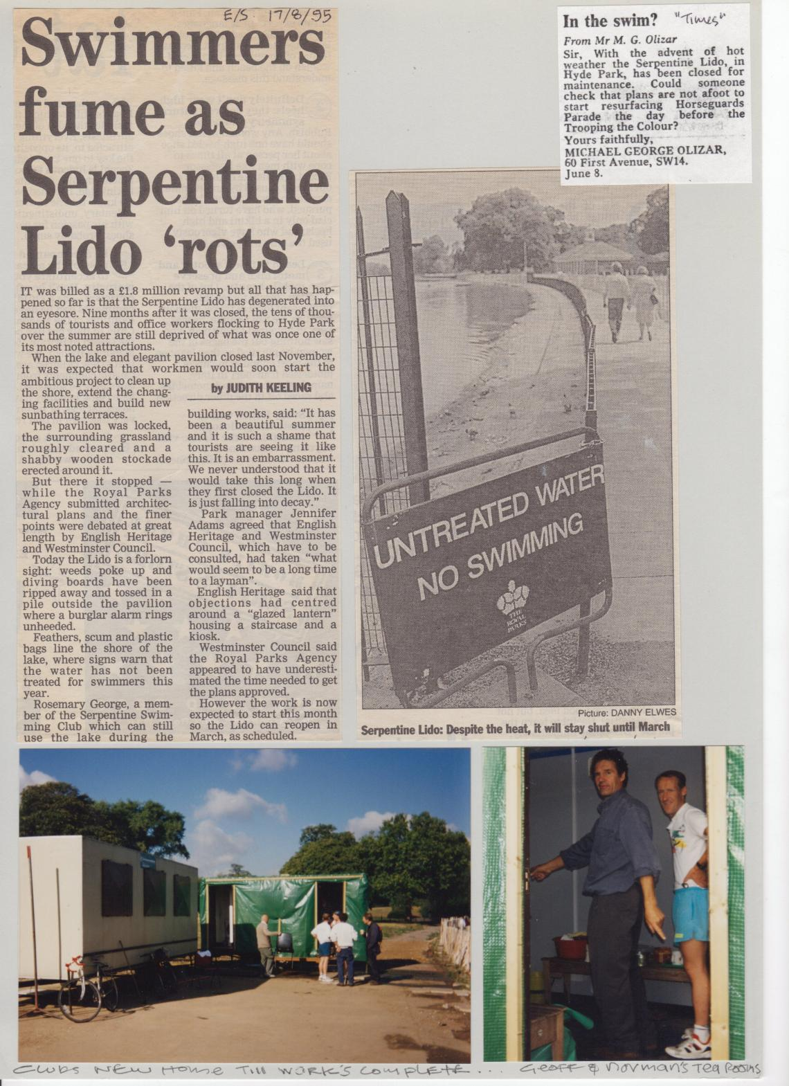 More problems for the Lido and the club in 1995